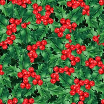 Modello di agrifoglio natalizio ad acquerello di alta qualità