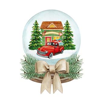 Palla di neve di alta qualità dell'acquerello con casa colorata