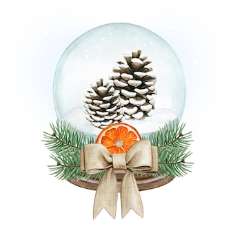 Acquerello palla di neve di alta qualità con pigne, fiocco di iuta e arancia essiccata