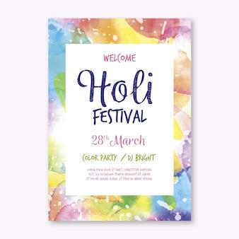 Modello di poster verticale del festival di holi dell'acquerello