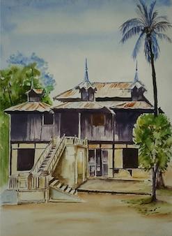 Illustrazione domestica dell'acquerello con sfondo di paesaggio