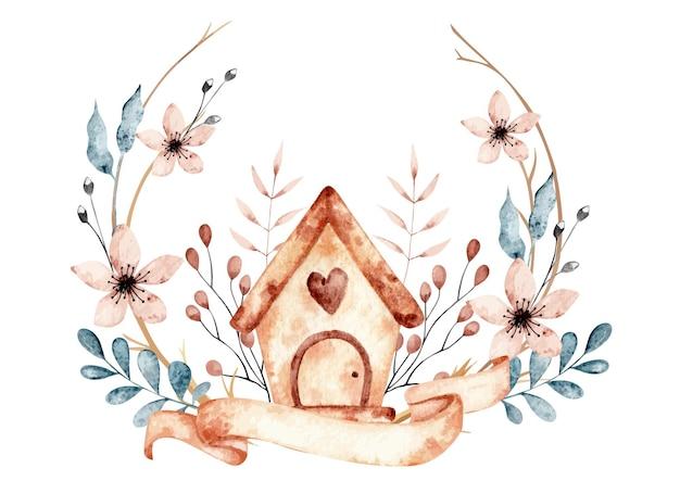 Acquerello casa dolce casa con elementi floreali