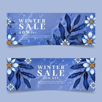 Set di banner di vendita invernale orizzontale dell'acquerello