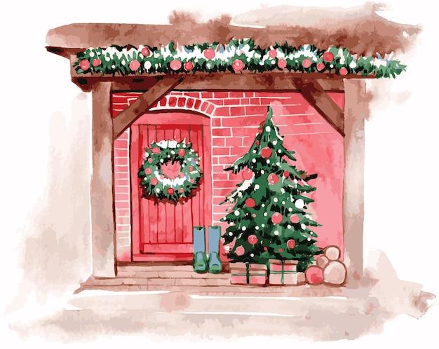 Illustrazione di ingresso di casa dell'acquerello per natale