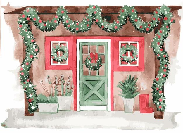Illustrazione di ingresso di casa dell'acquerello per natale Vettore Premium