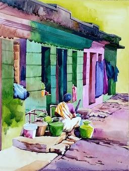 Illustrazione disegnata a mano della casa dell'acquerello