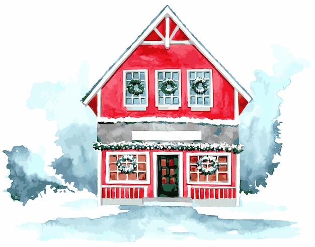 Illustrazione della casa dell'acquerello per natale Vettore Premium