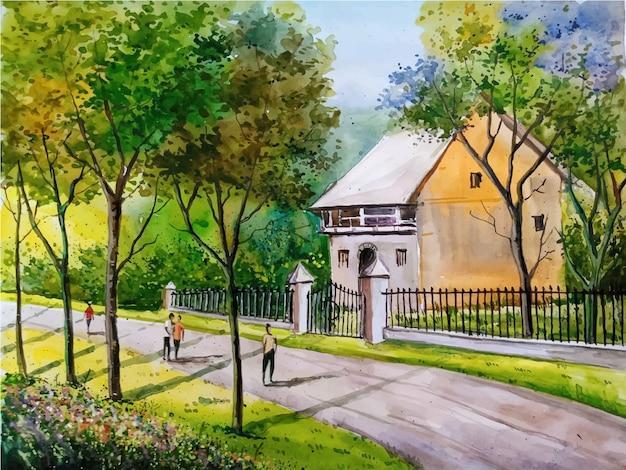 Casa dell'acquerello, illustrazione della natura con il fondo di vista stradale del paesaggio vettore premium