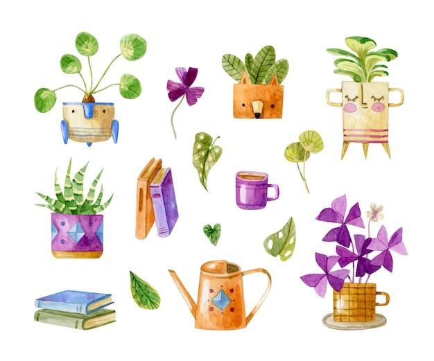Collezione di piante d'appartamento ad acquerello in simpatici vasi con libri tazza di foglie di annaffiatoio da tè