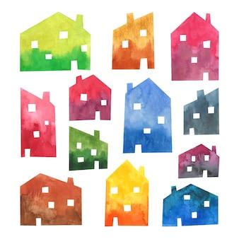 Acquerello case clip art illustrazione insieme di elementi city design architettura edifici