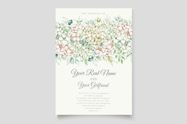 Carta di invito a nozze ortensia acquerello