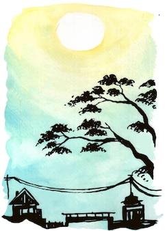 Materiale illustrativo dell'illustrazione dell'acquerello delle viste di alba in un villaggio fresco.