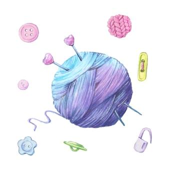 Illustrazione dell'acquerello di un gomitolo di lana per maglieria e accessori per cucito. vettore