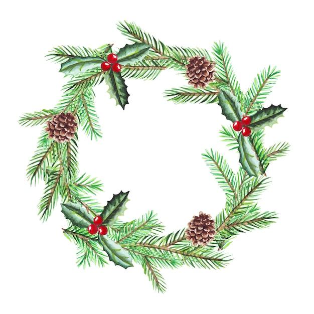 Illustrazione dell'acquerello della corona di natale con rami di abete. buon natale e felice anno nuovo.