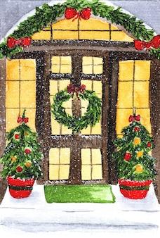 Illustrazione dell'acquerello della corona di natale con decorazioni della porta di casa Vettore Premium