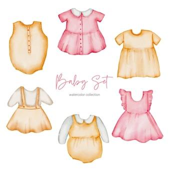 Vestiti dell'illustrazione dell'acquerello. set di vestiti per bambini