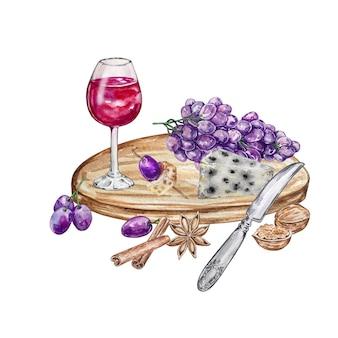 Illustrazione dell'acquerello composizione bicchiere di vino su un vassoio rotondo in legno con uva formaggio e spezie