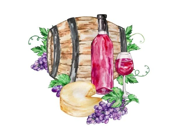 Composizione illustrazione acquerello grande botte di legno bicchiere con vino rosso con formaggio e uva