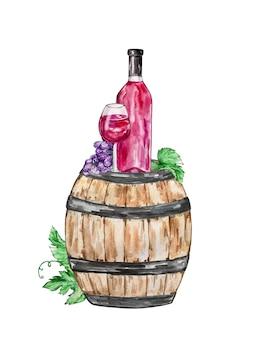 Composizione illustrazione acquerello una grande botte di legno con una bottiglia di vino rosso con un bicchiere e uva