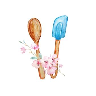 Illustrazione dell'acquerello di oggetti culinari per la cucina per la cottura di cucchiaio di legno marrone e cucchiaio e fiori blu