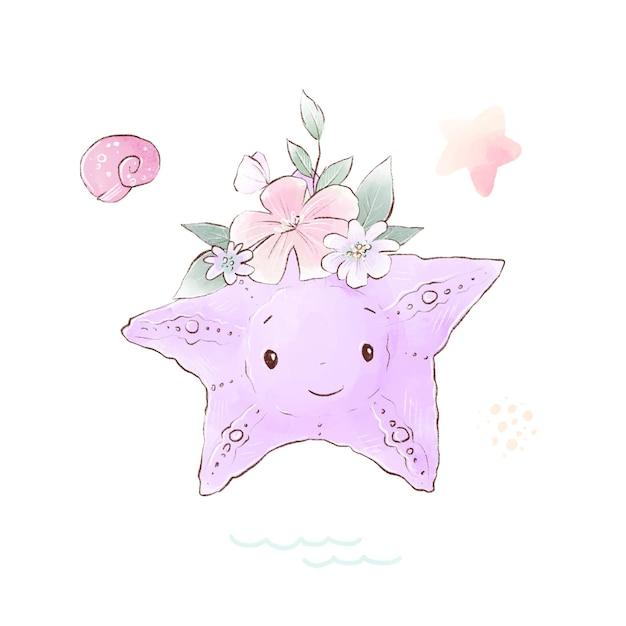 Illustrazione dell'acquerello di una stella marina simpatico cartone animato con fiori delicati