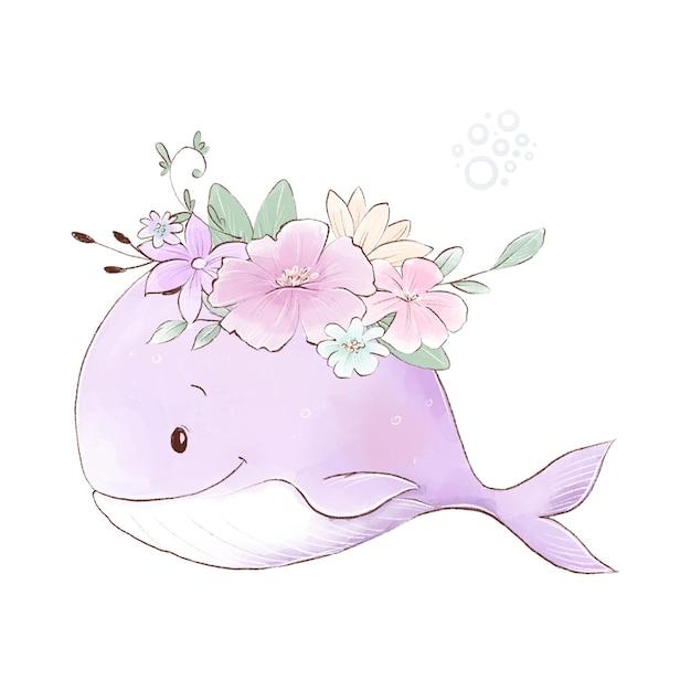 Illustrazione dell'acquerello di una balena simpatico cartone animato con fiori delicati