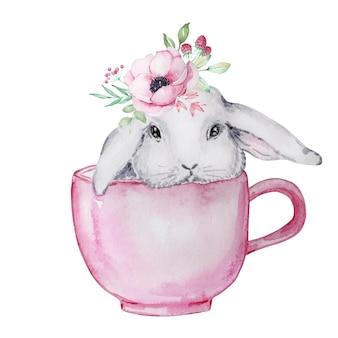 Illustrazione dell'acquerello di un simpatico coniglietto di pasqua grigio e bianco