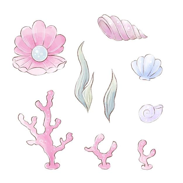 Elementi di illustrazione dell'acquerello di coralli di alghe marine