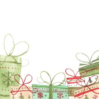Illustrazione dell'acquerello di scatole regalo su sfondo bianco. copia spazio. natale, capodanno, concetto di compleanno.