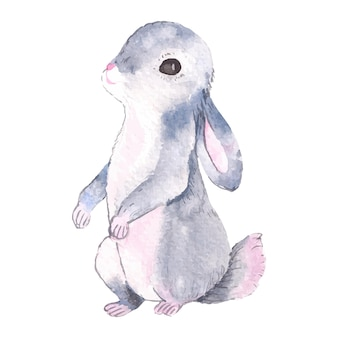 Illustrazione ad acquerello di un personaggio in stile cartone animato coniglietto isolato su bianco grafico perfetto