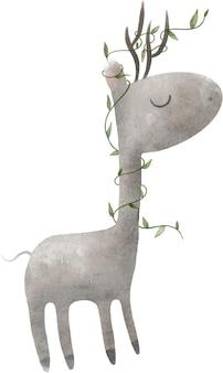 Illustrazione dell'acquerello stampa cervo cornuto grigio con foglie