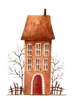 Illustrazione dell'acquerello di una casa marrone stilizzata con alberi senza foglie e una recinzione