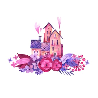 Illustrazione dell'acquerello di una dolce casa in fiori.