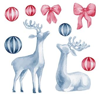 Illustrazione dell'acquerello, set vettoriale di decorazioni natalizie