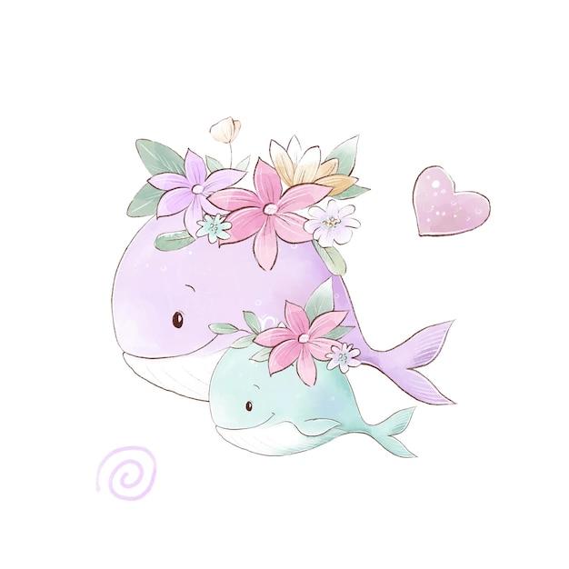 Illustrazione dell'acquerello di balene mamma e bambino con fiori delicati