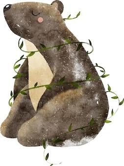Illustrazione dell'acquerello dell'orso bruno animale della foresta selvaggia con foglie