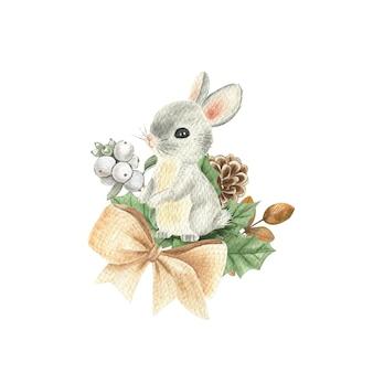 Illustrazione dell'acquerello di un coniglietto di composizione invernale. carta di capodanno.
