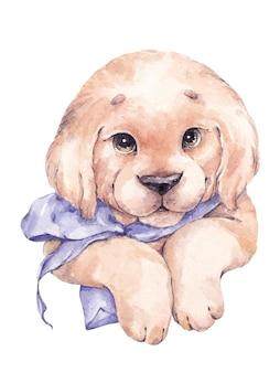 Illustrazione dell'acquerello con grazioso cucciolo di labrador e fiocco