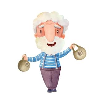 Illustrazione ad acquerello con un nonno impegnato in sport che tiene in mano dei kettlebell