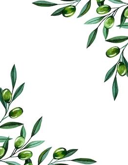 Illustrazione dell'acquerello con rami di ulivo e cornice di bacche. illustrazione floreale per matrimonio stazionario, saluti, sfondi, moda e inviti.