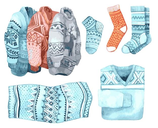 Illustrazione dell'acquerello con calze e maglioni per natale
