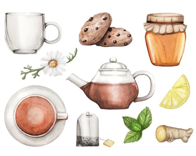 Illustrazione dell'acquerello con l'insieme di tè disegnato a mano