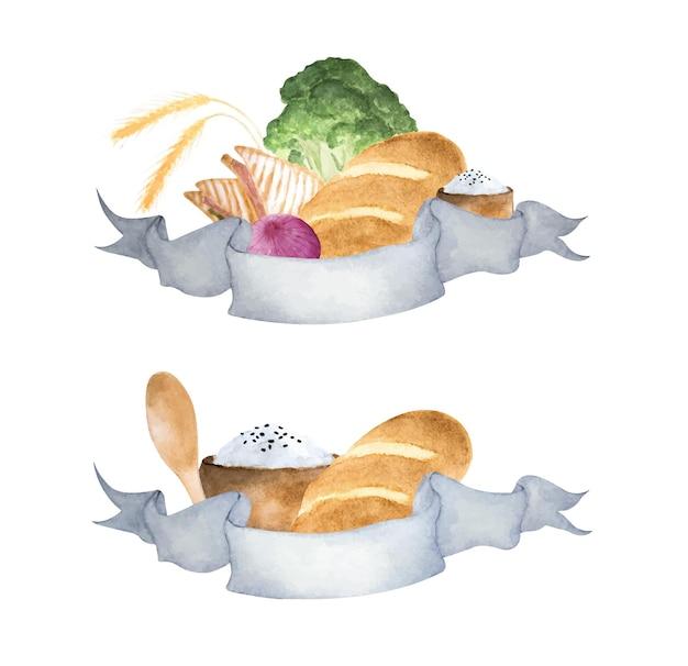 Illustrazioni ad acquerello di riso, pane e verdure. banner a nastro per il tuo testo.