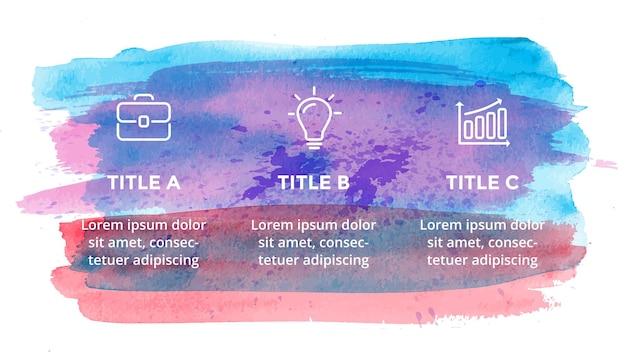 Modello di diapositiva di presentazione infografica ad acquerello banner di tratti di pennello concetto di arte creativa