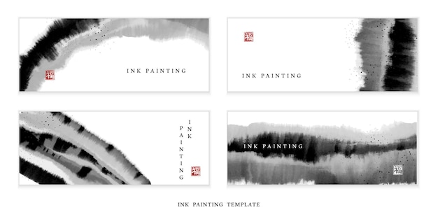 Insegna dell'illustrazione di arte della pittura dell'inchiostro dell'acquerello
