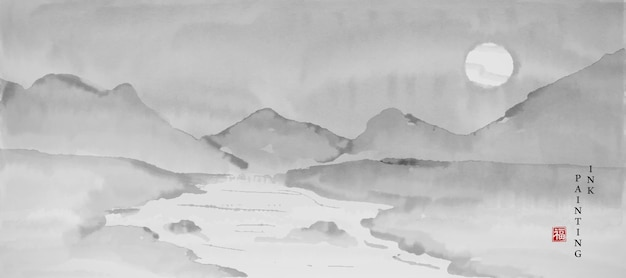 Acquerello vernice inchiostro arte texture illustrazione bastract vista del paesaggio del fiume di montagna e la luna.