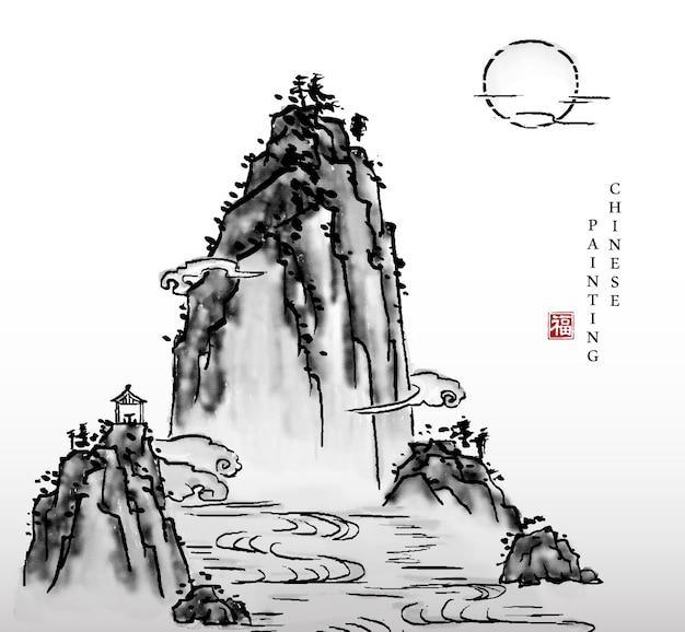 Inchiostro dell'acquerello vernice arte texture illustrazione paesaggio del fiume di montagna e la luna.
