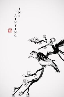 Acquerello vernice inchiostro arte texture illustrazione prugna ramo di fiori e uccellino.