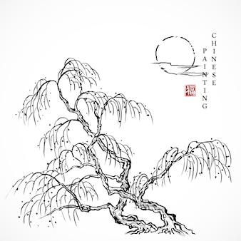 Acquerello vernice inchiostro arte texture illustrazione albero di salice e sole.