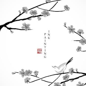 Acquerello vernice inchiostro illustrazione fiore di ciliegio ramo di fiori e uccellino